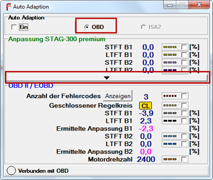 Softwarehighlights der FEMITEC STAG300 premium OBD